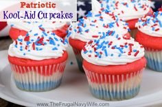 Patriotic Kool Aid Cupcakes. Fun and easy kids love to make them! Great dessert to impress your friends at any BBQ!