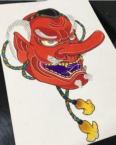 Không có mô tả ảnh. Japanese Tattoo Art, Japanese Tattoo Designs, Japanese Art, Tengu Tattoo, Mask Tattoo, Sailor Jerry Tattoo Flash, Asian Tattoos, Japan Tattoo, Irezumi
