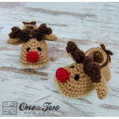 Reindeer Booties - Baby Sizes - Crochet Pattern by One and Two Company