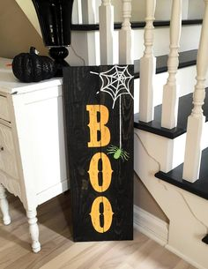 Wood Sign Project Gallery: Holidays, Home, Family, Bar & More Halloween BOO Sign in size - custom colors and stains to match your spooky decor!Halloween BOO Sign in size - custom colors and stains to match your spooky decor! Casa Halloween, Halloween Wood Crafts, Diy Halloween Decorations, Holidays Halloween, Fall Crafts, Holiday Crafts, Diy Halloween Signs, Halloween Table, Halloween Coffin