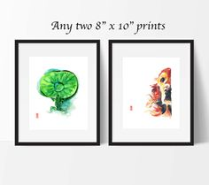 This item is a set of two 8 x 10 (20.3 cm x 25.4 cm) giclee fine art prints of original watercolor paintings by Jade Wu. The quality and texture of