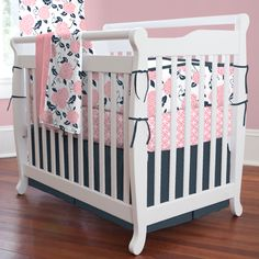 Coral and Navy Floral Mini Crib Bedding #carouseldesigns
