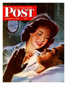 """Lighting His Cigarette,"" Saturday Evening Post Cover, October 23, 1943 -Old Fashioned Nursing!"