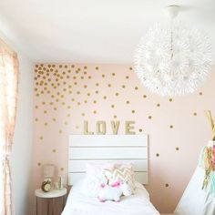 Dot & Bo Dainty Dots Wall Decals ($25) ❤ liked on Polyvore featuring home, home decor, wall art, polka dot decals, gold wall art, polka dot wall stickers, gold decals and polka dot home decor