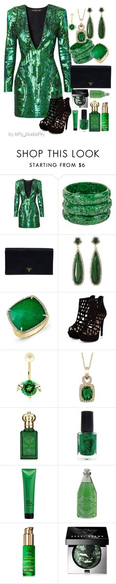 """""""Emerald night"""" by teryblueberry ❤ liked on Polyvore featuring Balmain, Prada, Vince Camuto, Delfina Delettrez, LE VIAN, Clive Christian, Matrix Biolage, Old Spice, Nuxe and Bobbi Brown Cosmetics"""