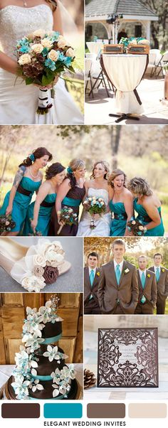 chocolate brown and turquoise fall wedding colors