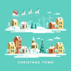 Christmas Greeting Card Winter Town