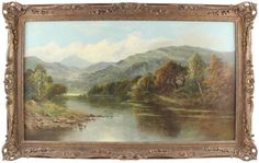 Charles Leader Large Antique Oil Painting Country Lake Mountain Signed Lake Mountain, Worlds Largest, Oil, Country, Antiques, Modern, Painting, Ebay, Antiquities