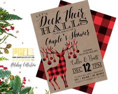 Couples Shower Invitation, Christmas Shower Invite, Deck Their Halls Shower, Kraft Paper, Flannel Deer, Buffalo Plaid, Wedding Shower, DIY by shopPIXELSTIX on Etsy