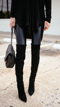 over the knee boots and leather leggings