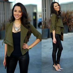 Shop Sosie Olive Jacket, Express Necklace, Pacsun Pleather Leggings