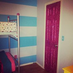 www.facebook.com/missmagicalmadness Super sparkly pink glitter door...I think Barbie would be jealous! Ugly military bunk beds blinged out with silver glitter, pink glitter styrofoam balls (on top), and pink rhinestone stickers to cover the bolts (or whatever) The door: mod Podge ..glitter..then shellac to seal it in without losing any sparkle!! Turquoise striped walls with matching turquoise light switch plate
