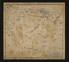 Jeff Bridgman Antiques and American Flags - LARGE, NAÏVE MAP OF AMERICA, CRAYON OR PASTEL ON MUSLIN, CA 1920-30, WITH A MYRIAD OF INTERESTING GEOGRAPHIC AND ECONOMIC IMAGERY