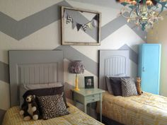 chevron girls' room makeover....love the color combo esp. the chest of drawers blue.