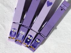 PURPLE OWLS hand painted magnetic clothespin set by SugarAndPaint, $10.00