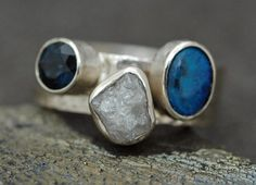 Custom 18k Recycled Gold Stacking Engagement and Wedding  Ring Set- Rough Diamond, Sapphire, and Black Opal via Etsy