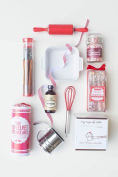 The rest of the cute finds fit the red-and-white theme perfectly:  Rolling pin ($7) Whisk ($3) Red velvet cupcake mix ($6) Silver flour sifter ($6)  Source: Style Me Pretty