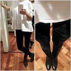 LEGGING & T-SHIRT  #legging + #velvet + #black & #tshirt + #modeloMEY + #white ❗✴❗✴