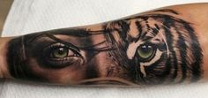 Lady tiger eyes tattoo The Effective Pictures We Offer You About tattoo best friend A quality pictur Tiger Eyes Tattoo, Tiger Tattoo Sleeve, Sleeve Tattoos, Tigeraugen Tattoo, Lion Tattoo, Tattoo Feather, Forearm Tattoos, Body Art Tattoos, Future Tattoos