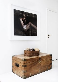 Rustic Polished Wooden Trunk In Hallway For Storage