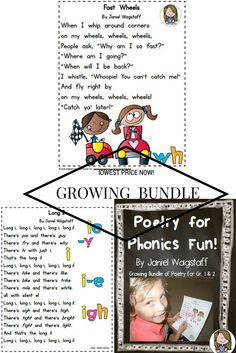 Growing bundle of Fun Phonics Poetry!  Get it now while the price is $1.60!  Currently has fun rhymes for long vowels and consonant digraphs. More to come including short vowels. https://www.teacherspayteachers.com/Product/Poetry-for-Phonics-Fun-Gr-1-2-Growing-Bundle-Long-Vowels-Consonant-Digraphs-2007904
