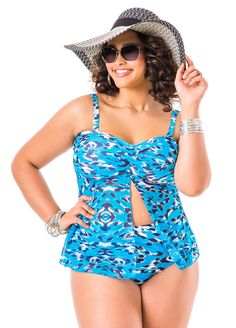 39d6cbf2f2f Leopard Print Flyaway Tankini Top - Ashley Stewart Plus Size Bikini