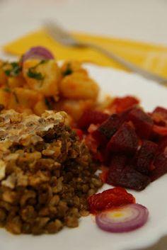 Mindennapi ételeink: Lencsehurka magyaros krumplival Tofu, Sausage, Grains, Rice, Vegetarian, Beef, Vegan, Ms, Lenses