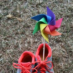 4 Adorable RAINBOW Pinwheels  SPIN in the by SummerSpinner on Etsy