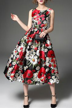 22d94813eb81 Vicky and Lucas - Sleeveless Printed Fit & Flare Dress in Multicolor  $139.99 Big Skirts,