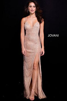 Nude Silver Backless Spaghetti Straps Beaded Prom Dress 58506