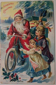 Vintage Santa postcard Santa on a bike I have never seen a Christmas postcard with Santa riding a bicycle how are unique