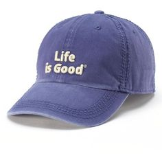 Life is Good ''Life is Good'' Baseball Hat, Women's, Blue (245 MXN) ❤ liked on Polyvore featuring accessories, hats, blue, polka dot hat, blue baseball cap, blue baseball hat, cotton baseball hats and cotton hat