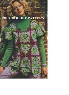 Vintage Granny Square Sweater Crochet PDF by KatnaboxCrochet