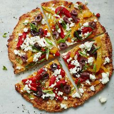 Cauliflower Crust Pizza with Feta, Peppers and Olives | Recipes | Weight Watchers