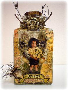 Altered art. Vintage bottle art.