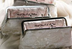 Perfect gifts for attendants or Mother of the Bride. Personalized Custom Embroidery inside Bridal or Bridesmaids Clutch Bag - 2 lines. $18.00, via Etsy.