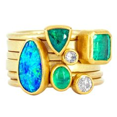 Petra Class Emerald Opal Diamond Gold Doublet Handmade Stacking Rings | From a unique collection of vintage cluster rings at https://www.1stdibs.com/jewelry/rings/cluster-rings/