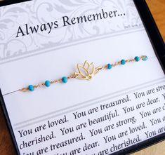 Gold LOTUS Bracelet, friendship bracelet with message card, turquoise bracelet, gold Lotus jewelry, yoga, minimal gold bracelet on Etsy, $34.00