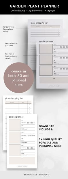 Garden Plant Planner and Gardening Planner, Garden Planner and Garden Journal, Plant Planner and Plant Tracker - A5 & Personal Size For Individual Who Loves Minimalistic And Clean Design, Instant Download! #gardenplantplanner #gardeningplanner #gardenplanner #etsyplanners #gardenjournal #selfcareplanners #plantracker #plantplanner Printable Planner, Printables, Page And Plant, Planner Dividers, Garden Planner, Garden Journal, Papers Co, Clean Design, Paper Size