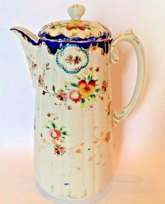 Red Purple And Yellow Pansies. Most Probably Made in Nippon Japan. Porcelain Chocolate Pot Or Teapot. Hand Painted White With Cobalt Blue Rims. And Raised Moriage Green And White Accents. Chocolate Cups, Chocolate Coffee, Shabby, Vintage China, Red Purple, Pansies, Tea Party, Art Decor, Tea Cups