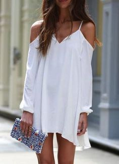 White Off the Shoulder Loose High Low Dress 13.00