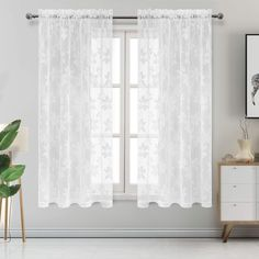 DWCN Floral Lace Sheer Curtains - Rod Pocket Window Voile Sheer Drapes for Bedroom Kitchen Short Curtains 52 x 63 inch Length, Set of 2 White Curtain Panels White Lace Curtains, Tie Up Curtains, Lace Curtain Panels, Short Curtains, Yellow Curtains, Sheer Drapes, Grommet Curtains, Linen Curtains, Curtain Rods