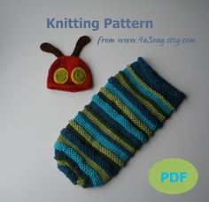 Hungry Caterpillar Baby Cocoon and Hat Knitting Pattern by 4aSong, $4.00