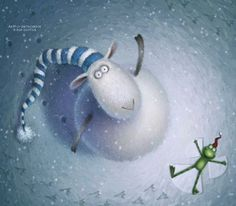 Russell the Sheep from Russell's Christmas Magic by Rob Scotton. Sheep Art, Country Paintings, Children's Book Illustration, Whimsical Art, Cute Art, Painting & Drawing, Cute Pictures, Funny Animals, Drawings