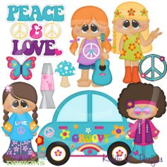 Peace and Love SVG Cutting Files Includes Clipart