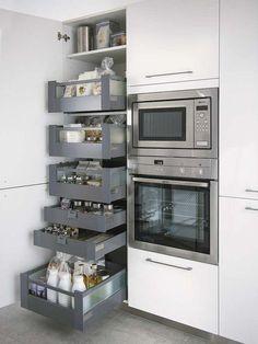 Muebles de cocina con cajones extraíbles #kitchen #cocinasmodernasintegrales #mueblesdecocina