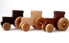 Personalized wood tractor toy, you choose wood.  Walnut, maple or cherry. #munire #pinparty #MadeintheUSA