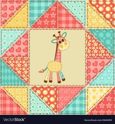 Giraffe. Vintage patchwork seamless pattern. Vector background. Download a Free Preview or High Quality Adobe Illustrator Ai, EPS, PDF and High Resolution JPEG versions.