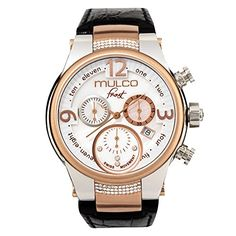 Mulco Frost MW5-2601-123 Black Leather Band Women Watch with Swarovski Crystals >>> See this great product.
