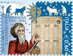 Il francobollo raffigura un ritratto di Barbanera e il suo primo Lunario, stampato in foglio unico nel 1762 a Foligno. In alto sono rappresentati il sole, la luna e le sagome di alcuni contadini intenti all'aratura con i buoi.